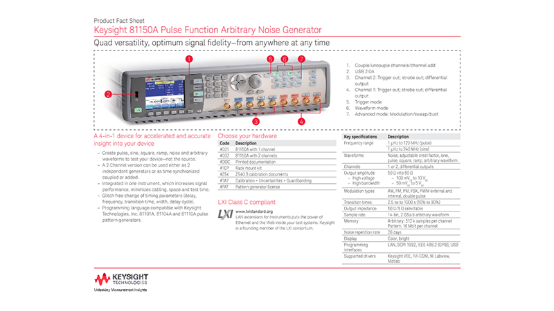 81150A Pulse Function Arbitrary Noise Generator – Product Fact Sheet