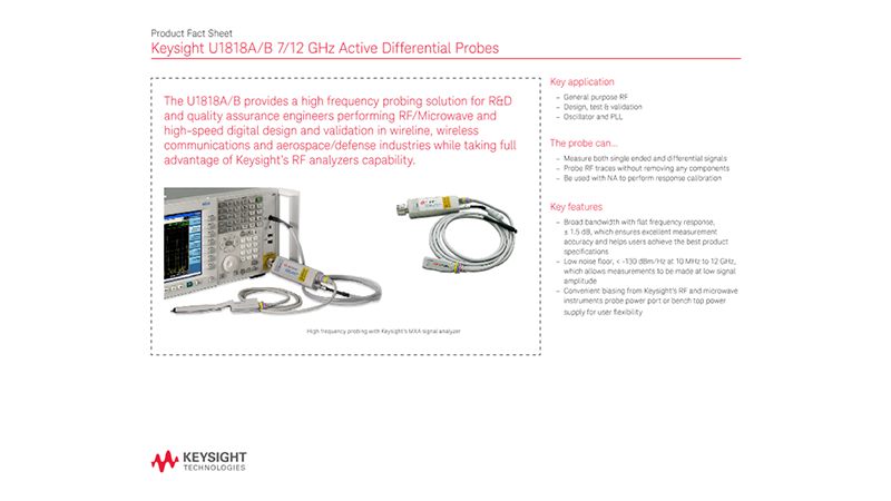 U1818A/B 7/12 GHz Active Differential Probes