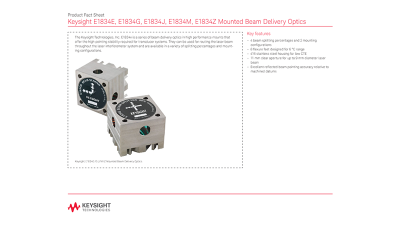 E1834E, E1834G, E1834J, E1834M, E1834Z Mounted Beam Delivery Optics