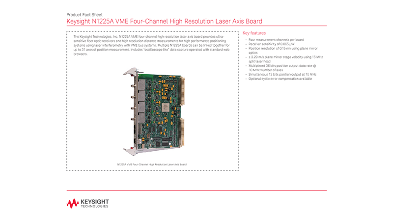 N1225A VME Four-Channel High Resolution Laser Axis Board