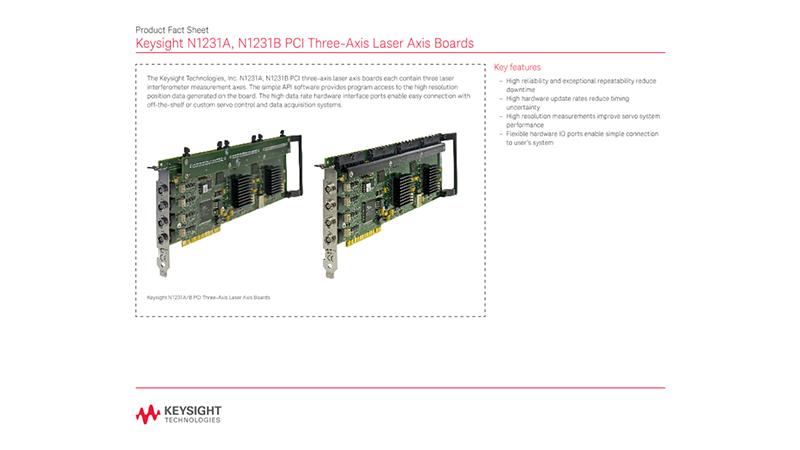 N1231A, N1231B PCI Three-Axis Laser Axis Boards