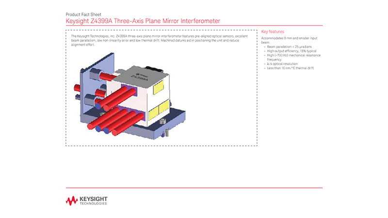 Z4399A Three-Axis Plane Mirror Interferometer – Product Fact Sheet