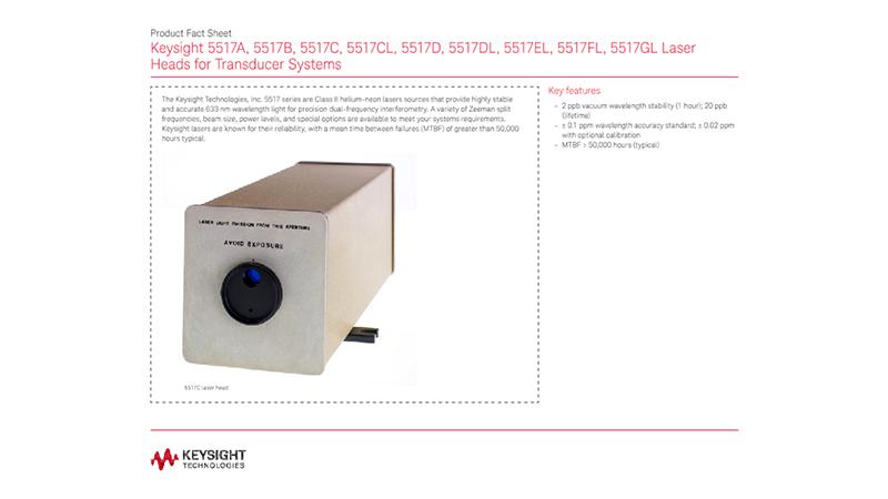 5517A, 5517B, 5517C, 5517CL, 5517D, 5517DL, 5517EL, 5517FL, 5517GL Laser Heads for Transducer Systems