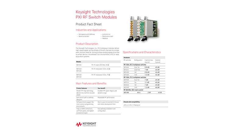 PXI RF Switch Modules – Product Fact Sheet