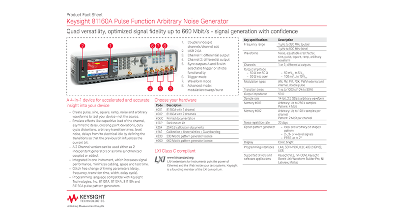 81160A Pulse Function Arbitrary Noise Generator – Product Fact Sheet