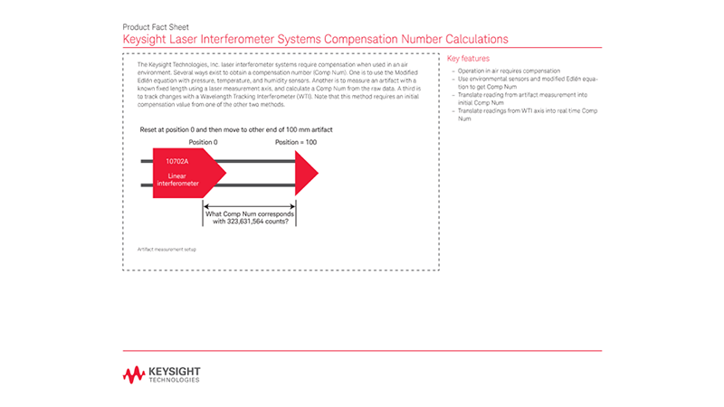 Laser Interferometer Systems Compensation Number Calculations – Product Fact Sheet