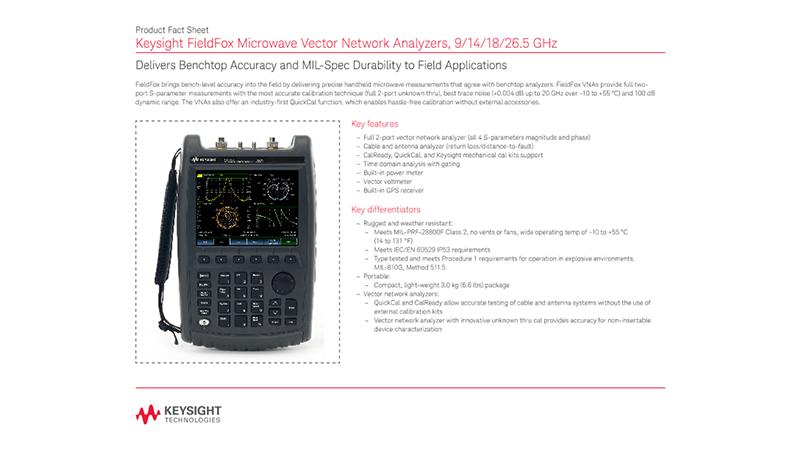 FieldFox Microwave Vector Network Analyzers, 9/14/18/26.5 GHz