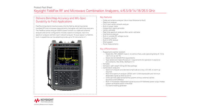 FieldFox RF and Microwave Combination Analyzers, 4/6.5/9/14/18/26.5 GHz