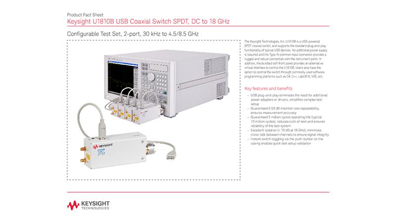 U1810B USB Coaxial Switch SPDT, DC to 18 GHz