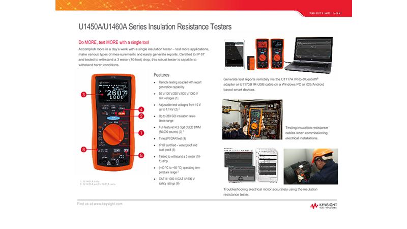 U1450A/U1460A Series Insulation Resistance Testers