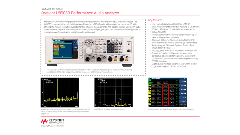 U8903B Performance Audio Analyzer