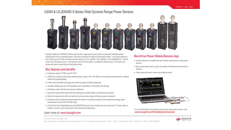 U2040/53/63 and L2050/60 X-Series Wide Dynamic Range Power Sensors