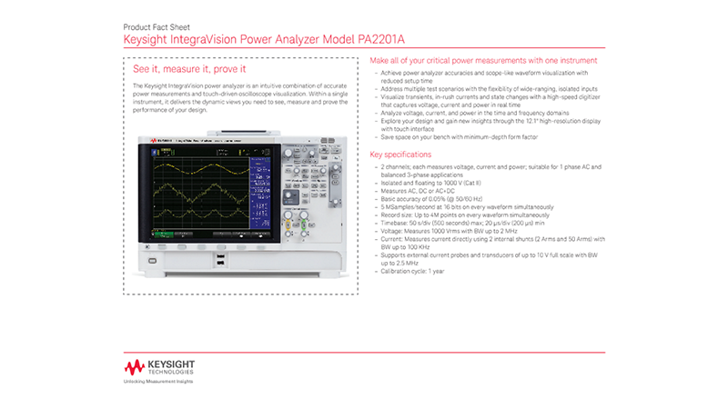 IntegraVision Power Analyzer Model PA2201A
