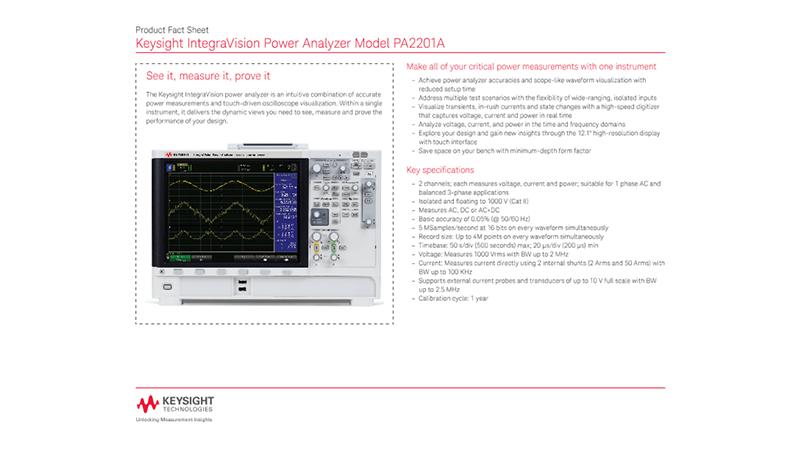 IntegraVision Power Analyzer Model PA2201A