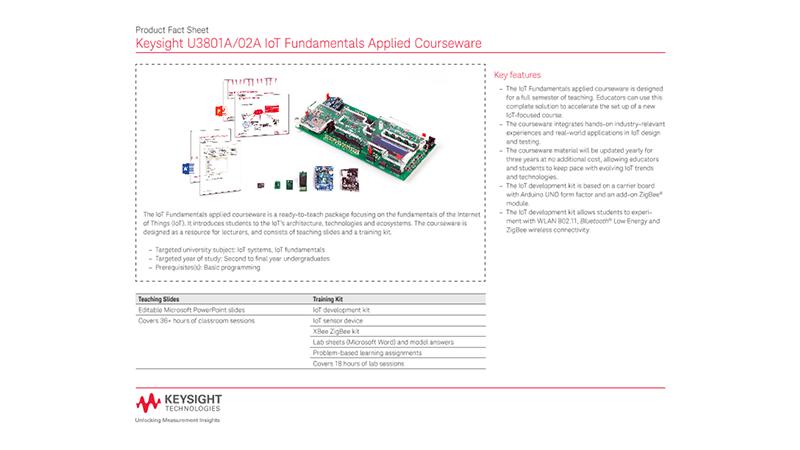U3801A/02A IoT Fundamentals Applied Courseware – Product Fact Sheet