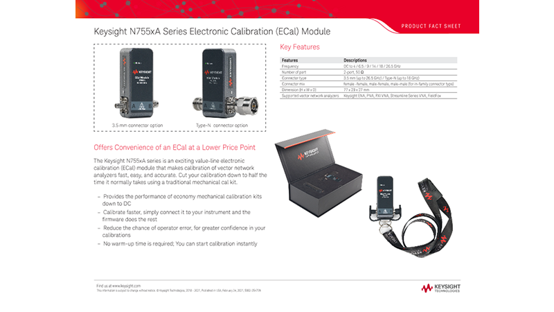 N755xA Series Electronic Calibration (ECal) Module