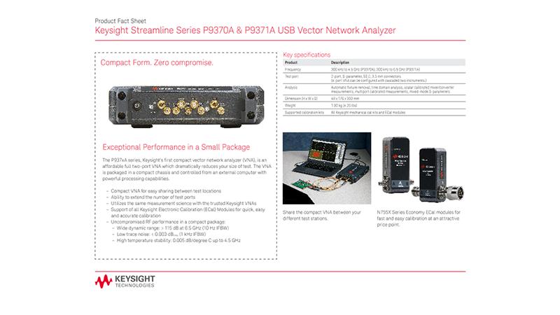 Streamline Series P9370A & P9371A USB Vector Network Analyzer