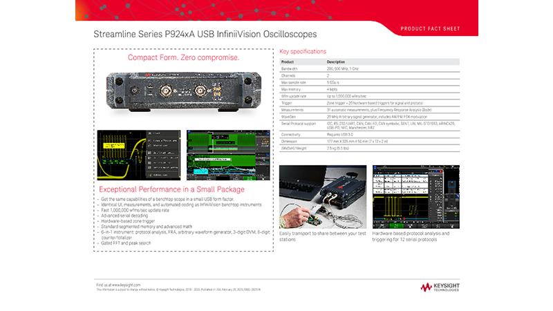 Streamline Series P924xA USB InfiniiVision Oscilloscopes