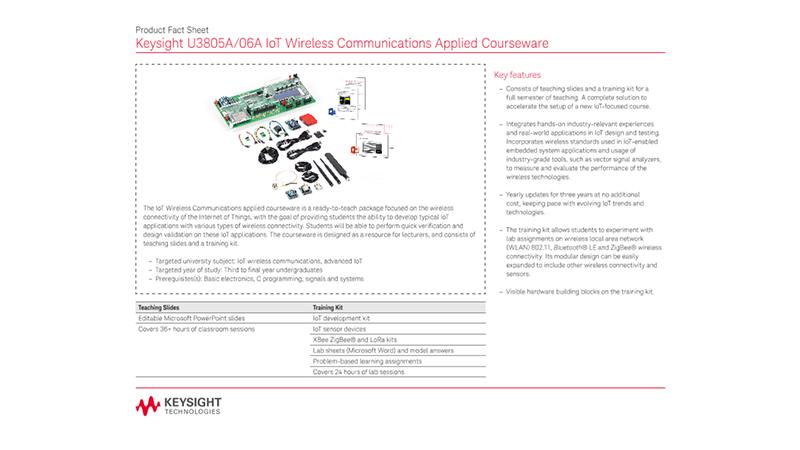 Keysight U3805A/06A IoT Wireless Communications Applied Courseware