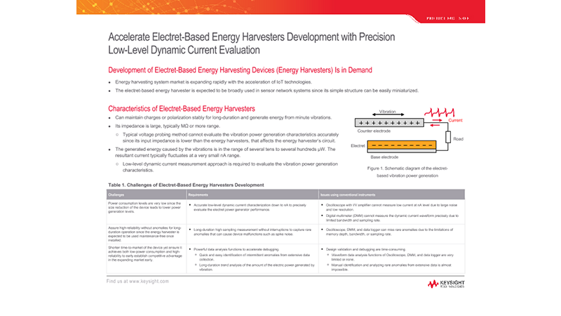 Accelerate Electret-Based Energy Harvesters Development with Precision Low-Level Dynamic Current Evaluation
