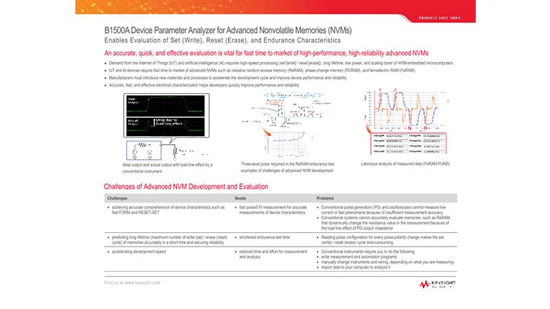 B1500A Device Parameter Analyzer for Advanced Nonvolatile Memories (NVMs)