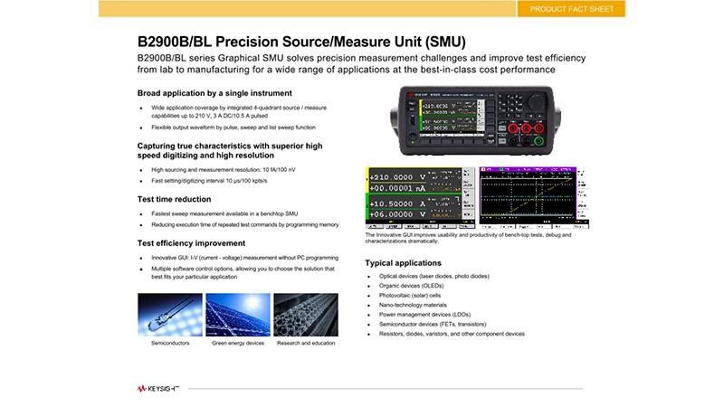 B2900B/BL Precision Source/Measure Unit (SMU)
