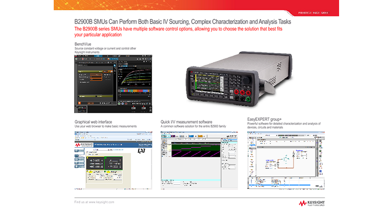B2900B SMUs Can Perform Both Basic IV Sourcing, Complex Characterization and Analysis Tasks