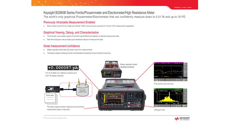 B2980B Series Femto/Picoammeter & Electrometer/High Resistance Meter