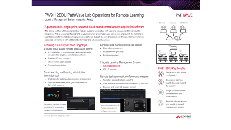 PW9112EDU PathWave Lab Operations for Remote Learning