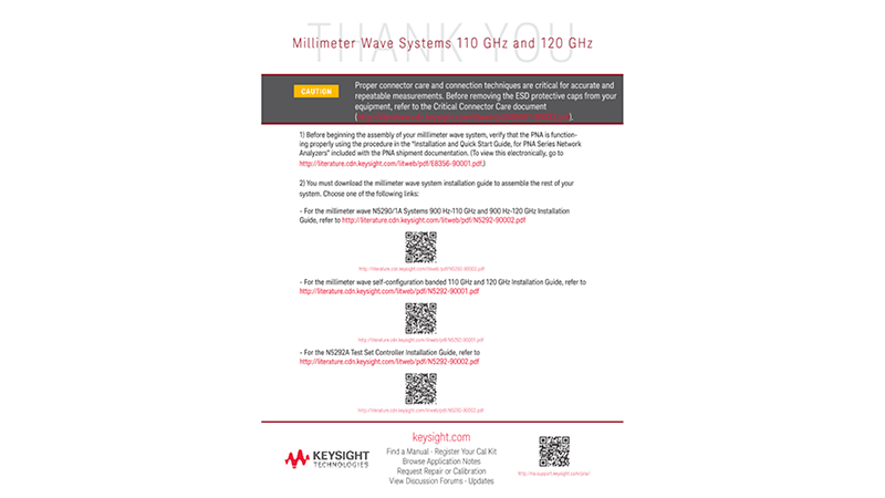 N5290/1A Millimeter Wave Systems - Quick Start Note