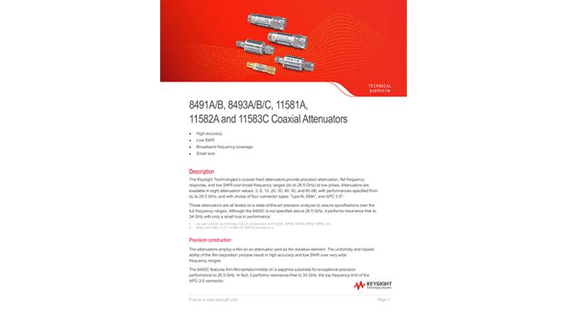 8491A/B, 8493A/B/C, 11581A, 11582A and 11583C Coaxial Attenuators