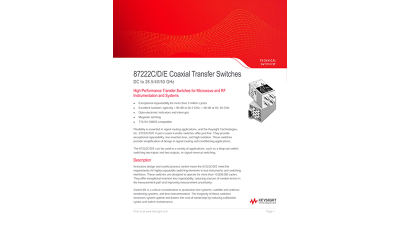 87222C/D/E Coaxial Transfer Switches