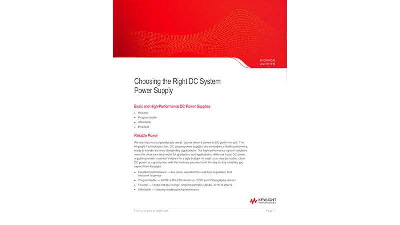 Choosing the Right DC System Power Supply