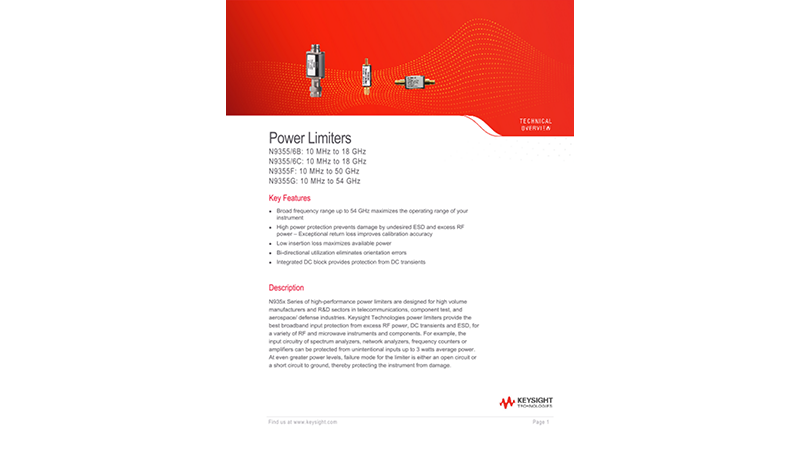 N9355/6 Power Limiters 0.01 to 18, 26.5 and 50 GHz