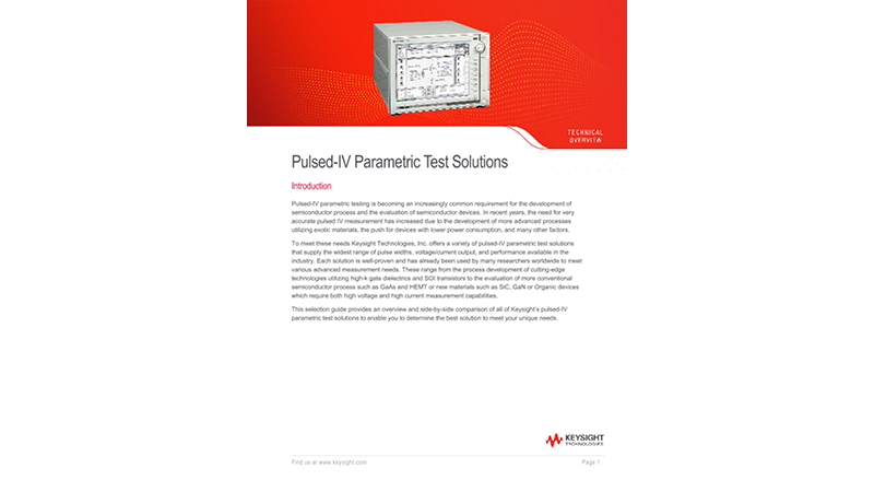 Pulsed-IV Parametric Test Solutions