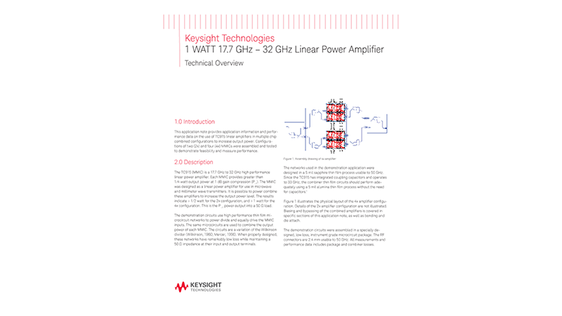 1 WATT 17.7 GHz – 32 GHz Linear Power Amplifier