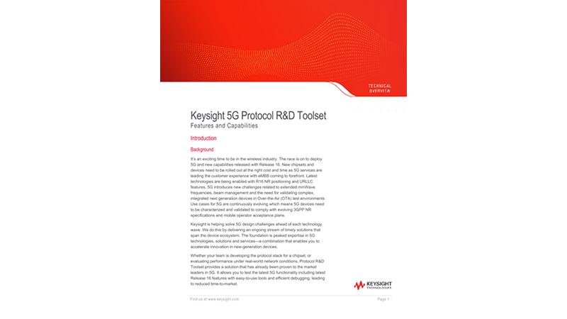 Keysight 5G Protocol R&D Toolset