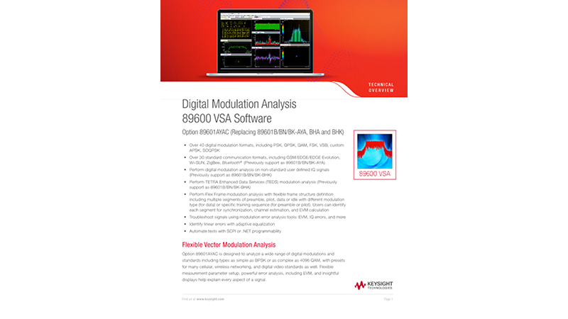 Digital Modulation Analysis 89600 VSA Software Option 89601AYAC