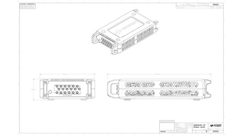 P9164x 2x16 USB solid state switch matrix 2D drawing, PDF Format