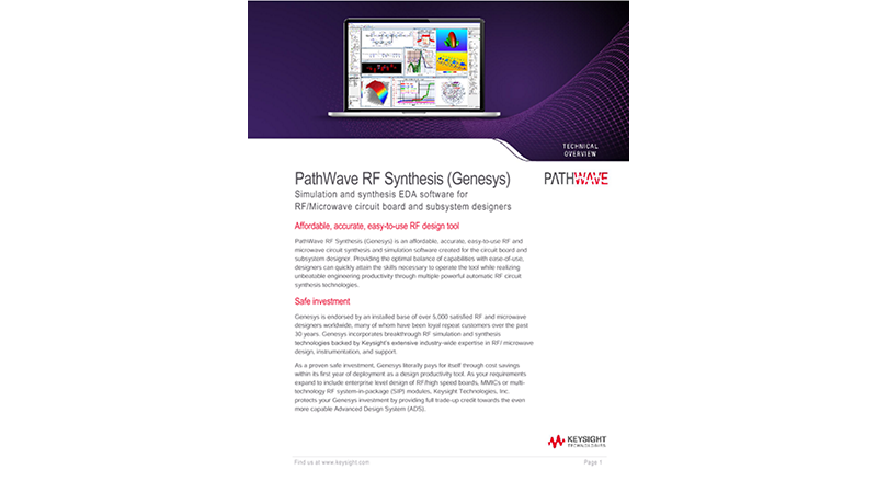 Pathwave RF Synthesis (Genesys)