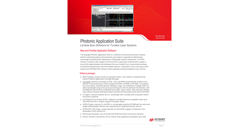 Photonic Application Suite: Lambda Scan Software for Tunable Laser Systems