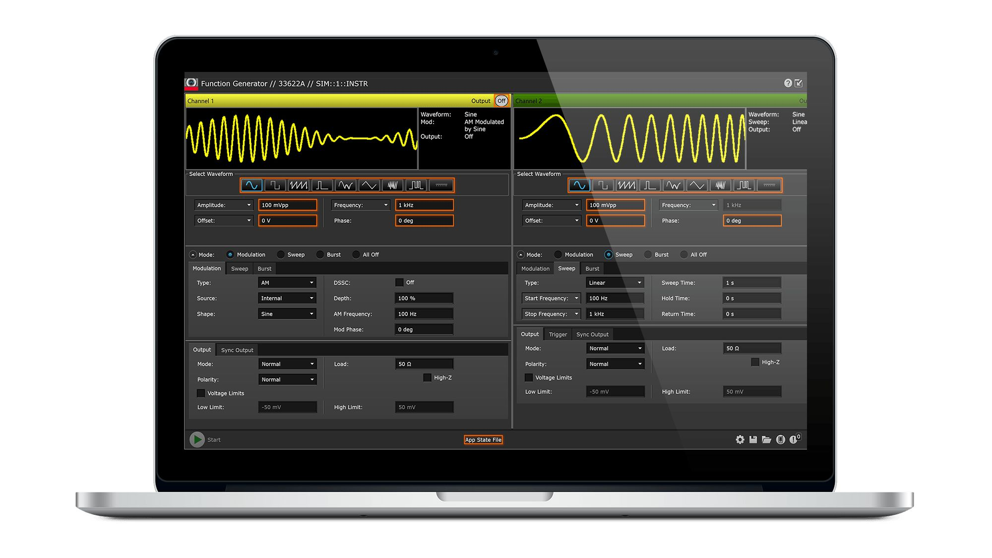 BenchVue Function Generator Application Software