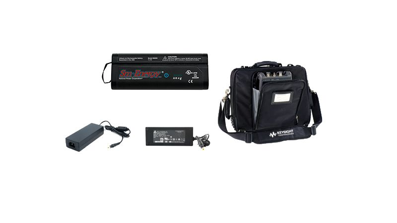 Rechargeable battery, carrying case, and charging ford for FieldFox