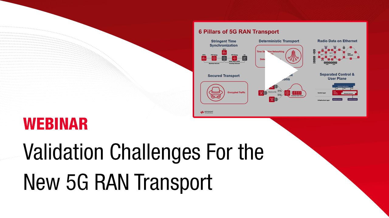 Validation Challenges For the New 5G RAN Transport