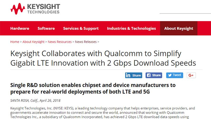 Qualcomm, Keysight Achieve 2-Gbps Wireless Downloads