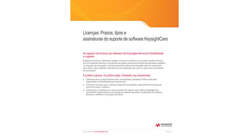Prazos e tipos de licenças e suporte KeysightCare